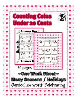 Money ~ Counting Coins under 20 Cents ~ One Work Sheet Many Holidays & More