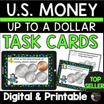 Money- Counting Coins up to a U.S. Dollar (24 Task Cards) FREE