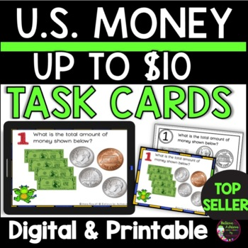 Money-Counting Money up  U.S. $10.00 (24 Task cards) FREE