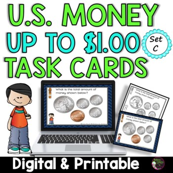 Money- Counting U.S. Coins up to a Dollar- Set C