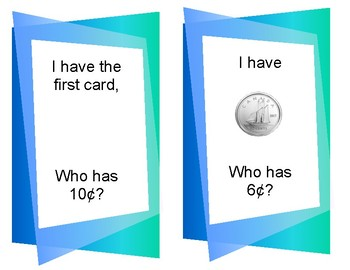 Money  - Counting to 20c - I have ____  Who Has ____?
