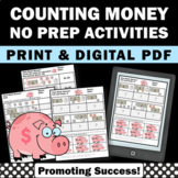Counting Money Cut and Paste, 2nd Grade Math Worksheets, Dollars and Cents
