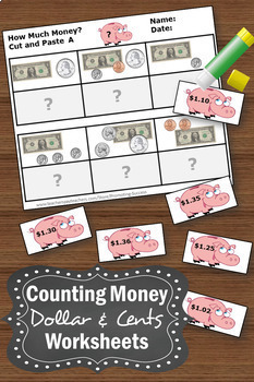 counting money worksheets cut and paste dollars and cents 2nd grade math centers. Black Bedroom Furniture Sets. Home Design Ideas