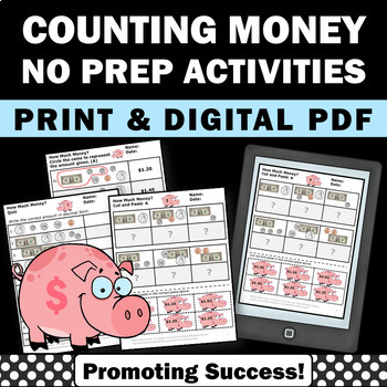 counting money worksheets dollars and cents 2nd grade math centers review. Black Bedroom Furniture Sets. Home Design Ideas