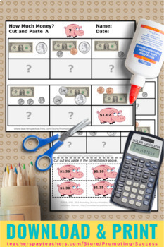 Money Worksheets Dollars and Cents 2nd Grade Math Centers Review
