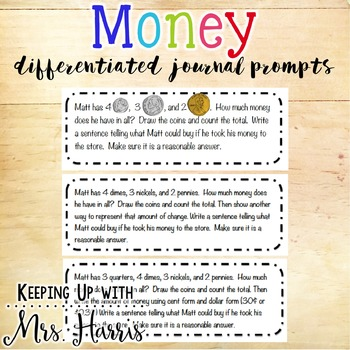 Money Differentiated Journal Topics - Free Journal Prompts