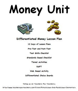 Money Differentiated Unit Pretest Post Test Tiered Activities RAFT Choice Boards