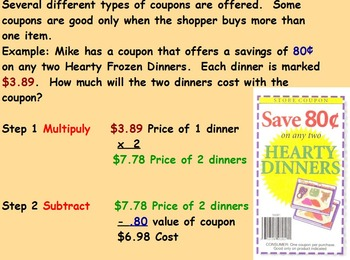Buying Food - Discounts with Multiple Coupons (worksheet included); (POWERPOINT)