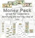 Money Math (Dollar Bills) Identification and Value Worksheets