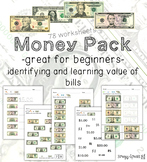 Money Math (Dollar Bills) Identification and Value Worksheets