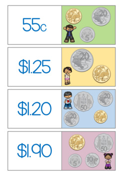 Money - Dominoes - Australian Coins - Up To $2 - LEVEL 1