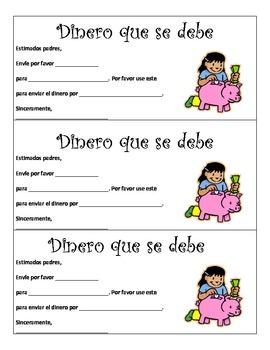 Money Due Envelope Labels (Spanish)