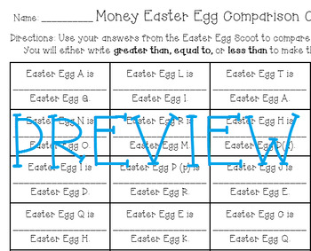 Money Easter Egg Hunt Scoot and Comparison Activity