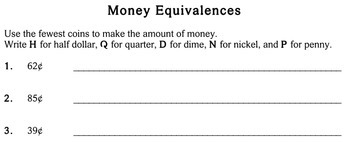 Money Equivalence, Problem Solving, 2nd grade - worksheets - Individualized Math