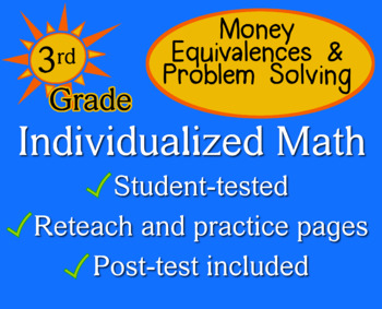 Money Equivalence, Problem Solving, 3rd grade - worksheets - Individualized Math