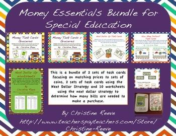 Money Essentials Bundle for Special Education [Task Cards, Worksheets]