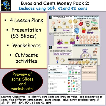 Euros and Cents Money, Presentation, Lesson Plans, Worksheets/Activities Pack 2