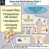 Euros and Cents Money Presentation, Lesson Plans, Worksheets/Cut & Paste Pack 1