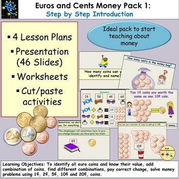 Euros and Cents Money Presentation, Lesson Plans, Worksheets/Cut & Paste  Pack 1