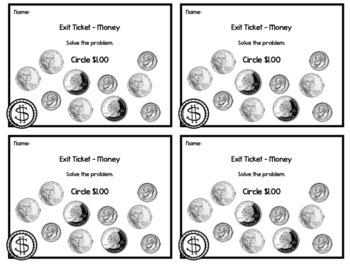 Money Exit Tickets - 20 Math Assessments