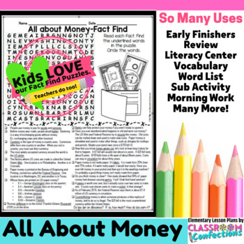 Money Activity: Money Word Search (nonfiction text, readin