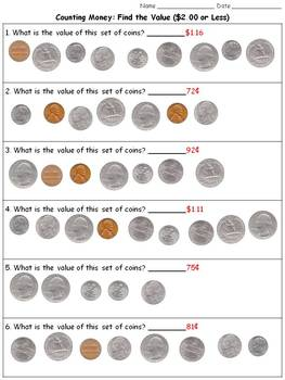 Money: Find the Value ($2.00 or Less) - Counting Coins Practice Sheets