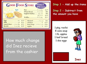 Buying Food - Finding Change; Real World Math (SMART BOARD)