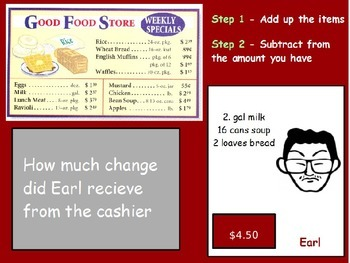 Buying Food - Finding Change; Real World Math (POWERPOINT)