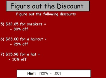 Basic Math Skill - Finding discounts and tips (worksheet included) (POWER POINT)