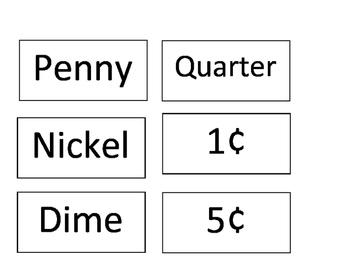 Money Flash Cards/ Matching Game