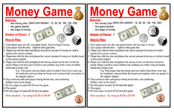 Money Game - Practicing Counting American Money to $1.00, $2.00, and $5.00