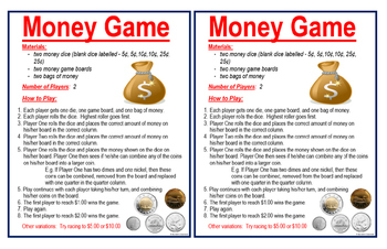 Money Game - Practicing Counting Canadian Money to $1.00, $2.00, and $5.00