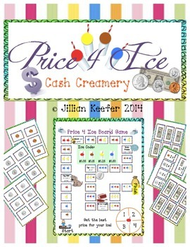 "Adding/Subtracting Money Game: ""Price 4 Ice Cash Creamery"" Board Game"