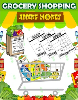 Money Grocery Shopping Activity- adding money