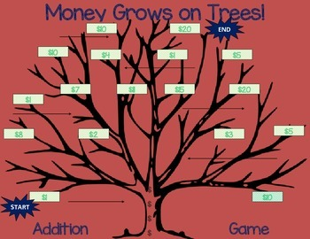 Money Grows on Trees! Original Addition Game K-1st-2nd B2S