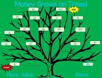 Money Grows on Trees! Original Place Value Game 3rd, 4th, 5th