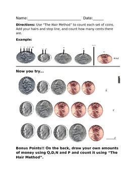 "Money ""Hair Method"" Worksheet +FREEBIE+"