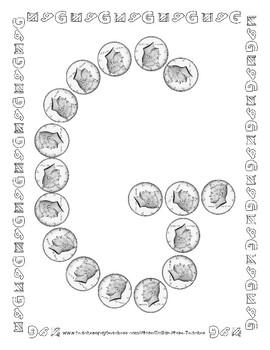 Money - Half Dollar -  Manipulative Mats Upper & Lower Case Letters  Fine Motor