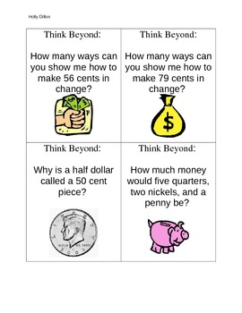 Money Hint Cards and Think Beyond Cards