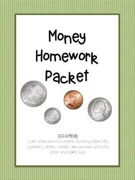 Money Homework Packet! Common Core Alligned! 2nd grade!