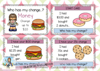 Money - I Have Who Has My Change - Coins - Subtraction To $10