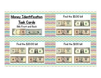 Money Identification Task Cards