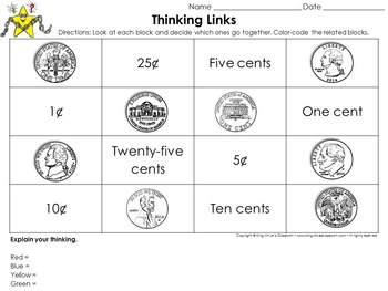 Money: Identifying Coins Thinking Links Activity #1 - Quarter Dime Nickel Penny