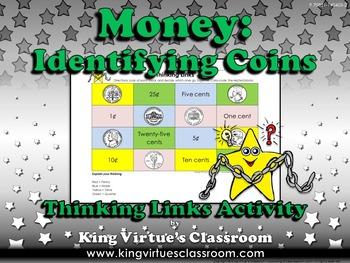 Money: Identifying Coins Thinking Links Activity #1 - Quar