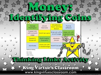 Money: Identifying Coins Thinking Links Activity #2 - Quarter Dime Nickel Penny