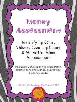 Money Assessment: Identifying Coins, Values, Counting Money & Word Problem