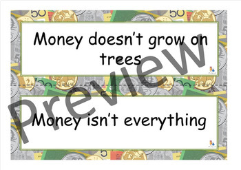 Money Idioms - Money Related Sayings on Money Themed Display Cards