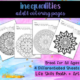 Money Inequalities Adult Coloring Sheets