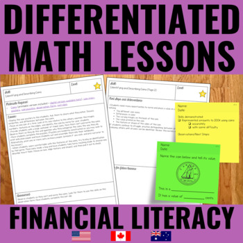Money Lessons for Guided Math - Differentiated
