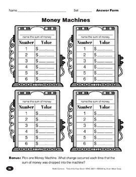 Money Machines (Function Tables with Money)